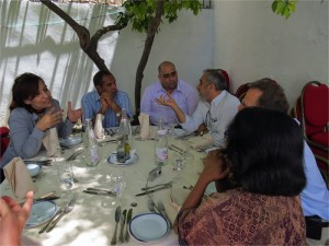 A group of funders visiting Tunis discuss human rights funding in transitions